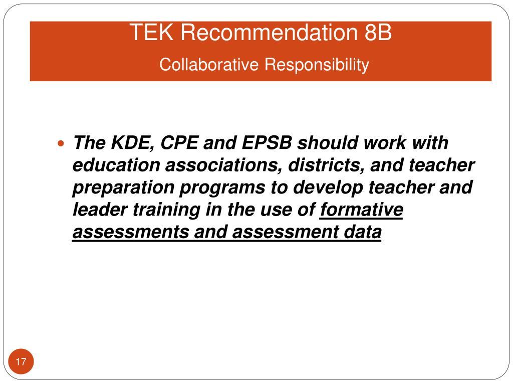 TEK Recommendation 8B