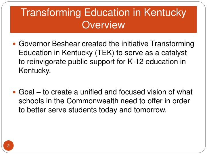 Transforming education in kentucky overview