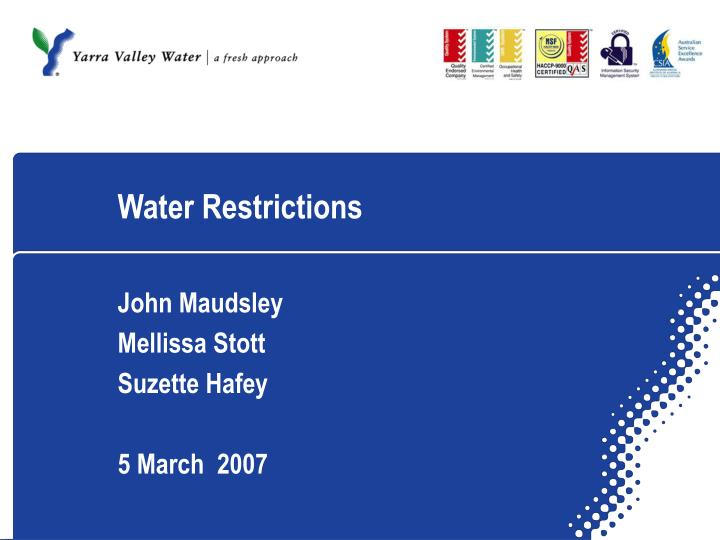 water restrictions n.