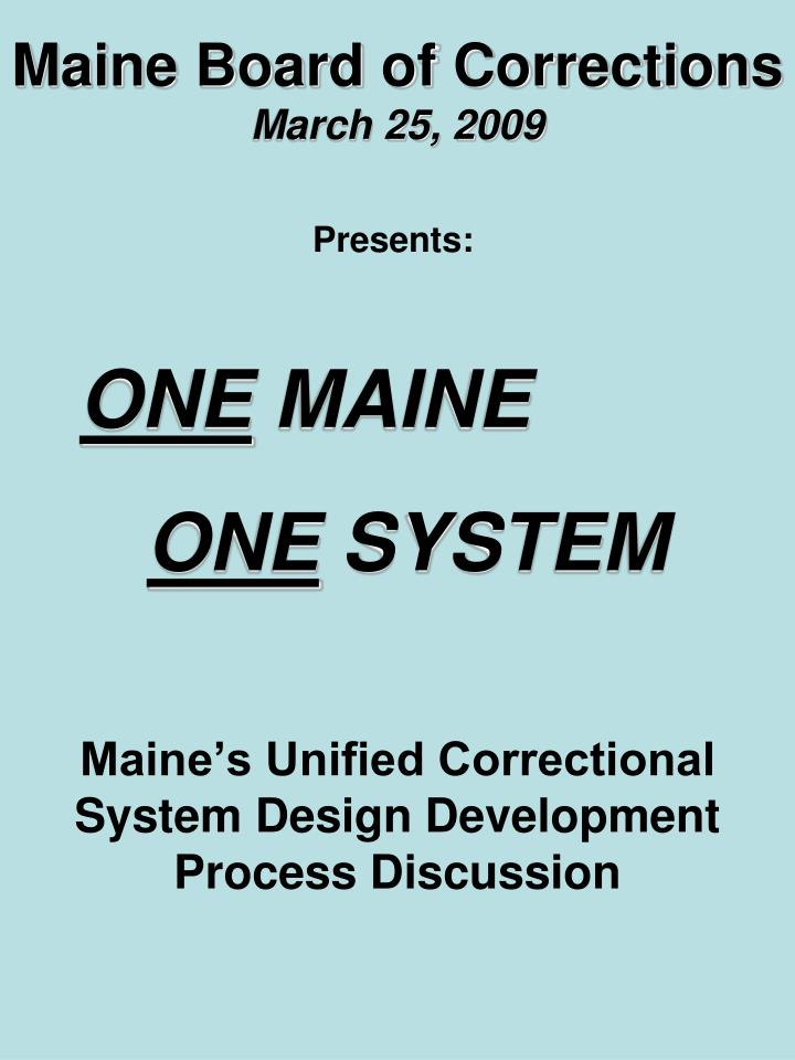 maine board of corrections march 25 2009 n.