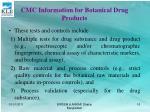 cmc information for botanical drug products16