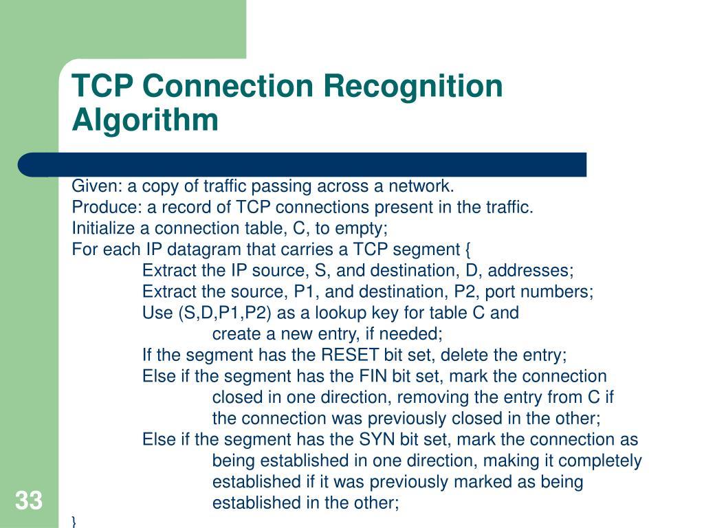 TCP Connection Recognition Algorithm