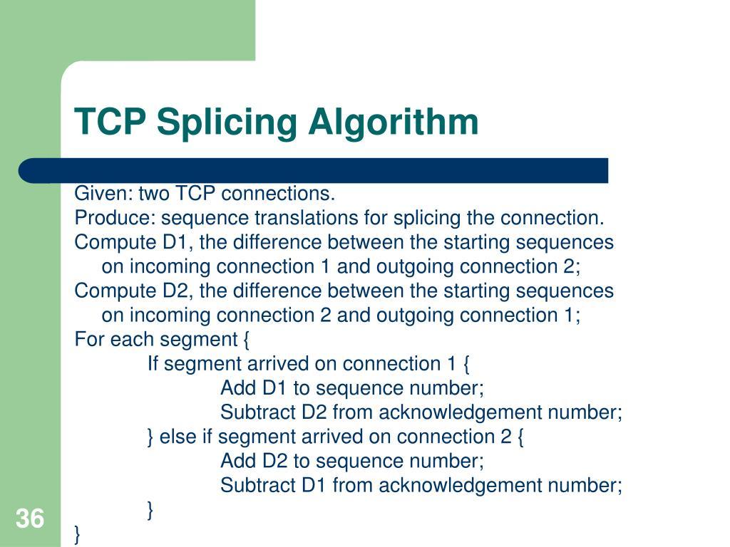 TCP Splicing Algorithm