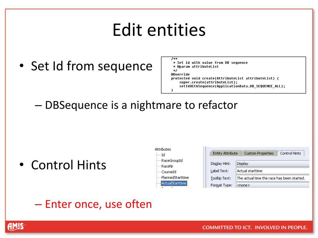 Edit entities
