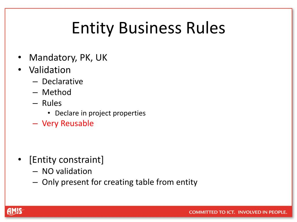 Entity Business Rules