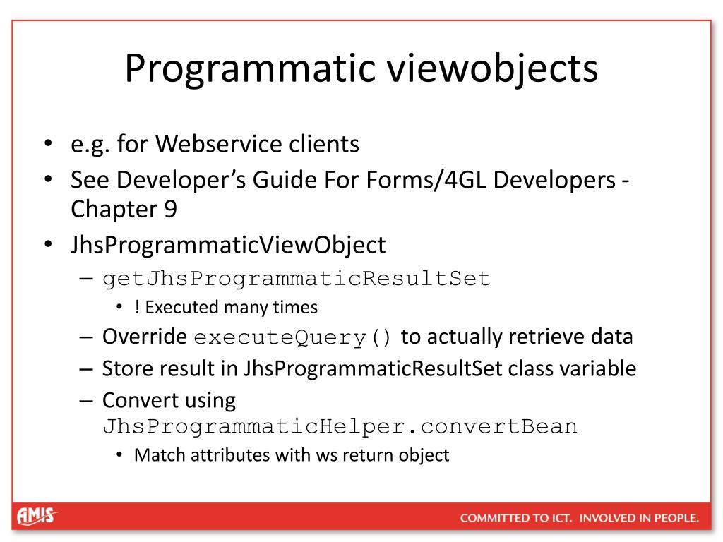 Programmatic viewobjects