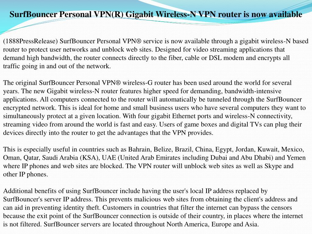 SurfBouncer Personal VPN(R) Gigabit Wireless-N VPN router is now available