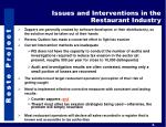 issues and interventions in the restaurant industry
