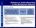solution to under reporting in the restaurant industry