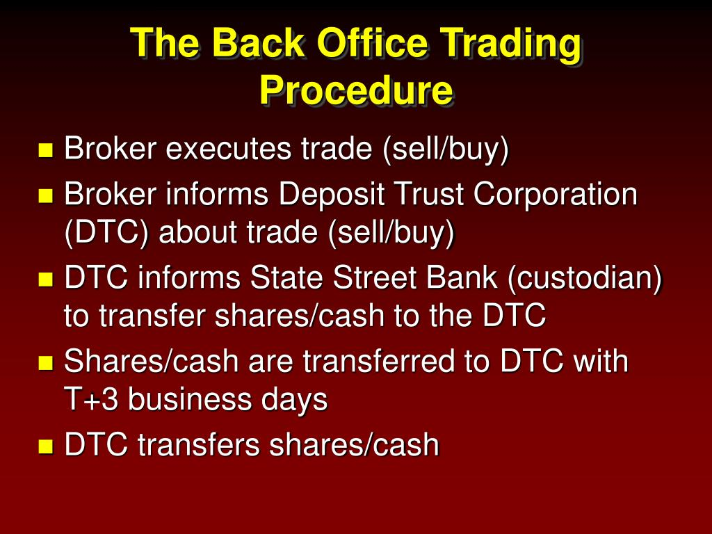 The Back Office Trading Procedure