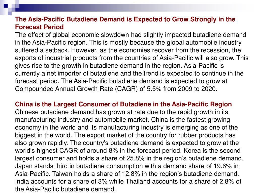 The Asia-Pacific Butadiene Demand is Expected to Grow Strongly in the Forecast Period