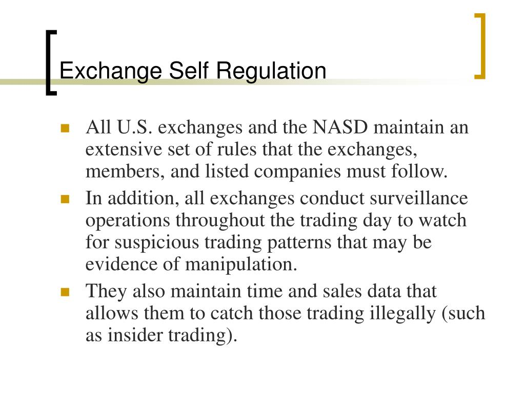 Exchange Self Regulation