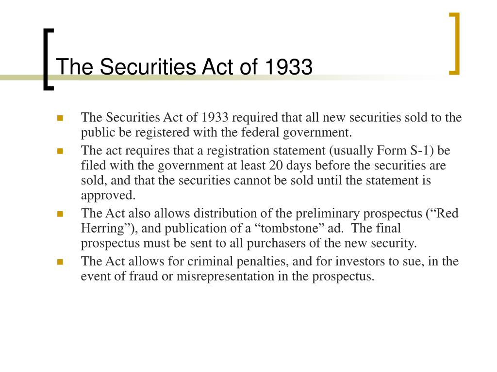 The Securities Act of 1933