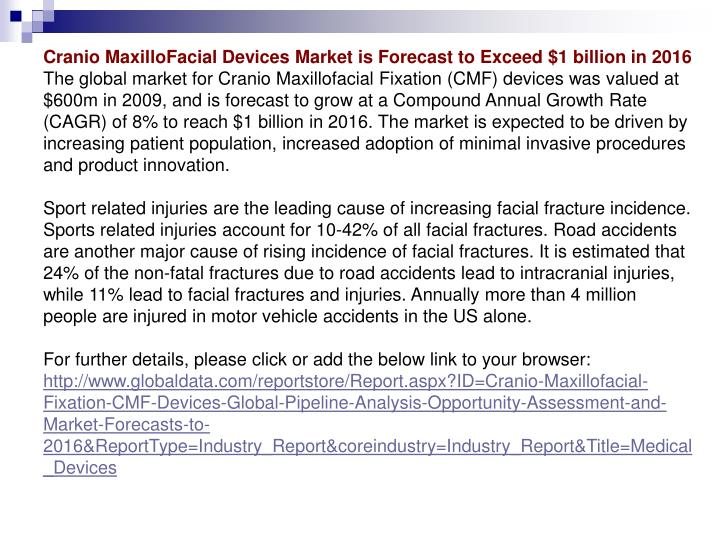 Cranio MaxilloFacial Devices Market is Forecast to Exceed $1 billion in 2016