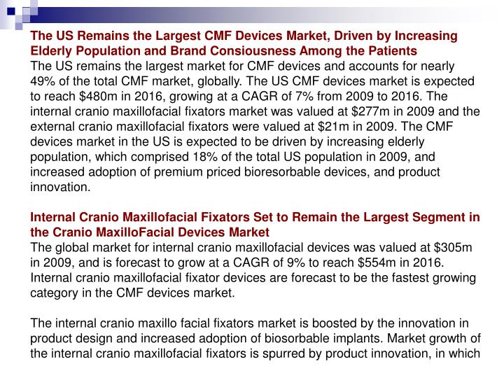 The US Remains the Largest CMF Devices Market, Driven by Increasing Elderly Population and Brand Con...