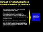impact of reorganizing underwriting activities