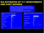 sia estimates of t 1 investments and cost savings