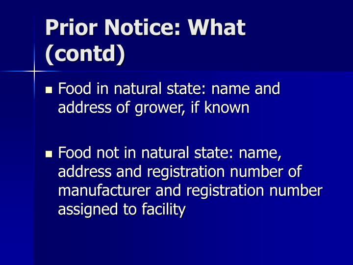 Prior Notice: What