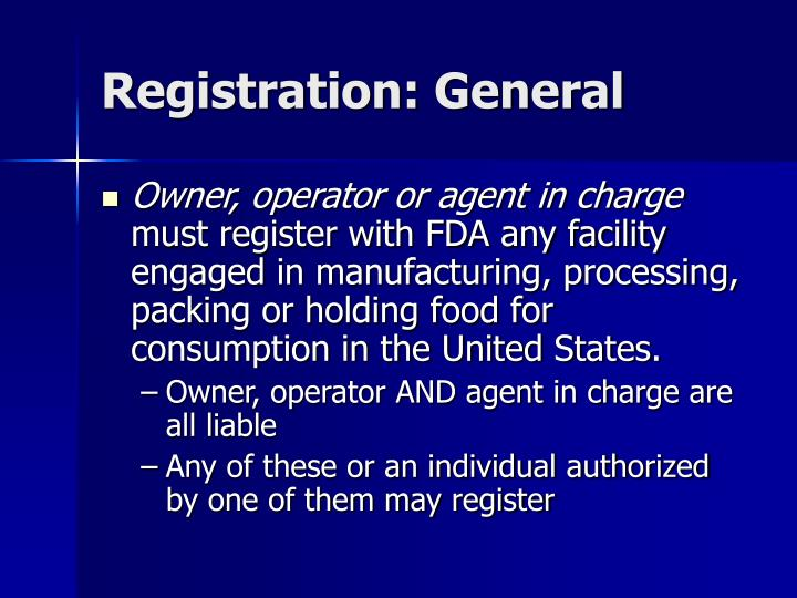 Registration: General