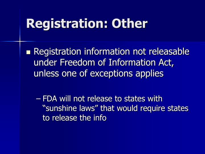 Registration: Other