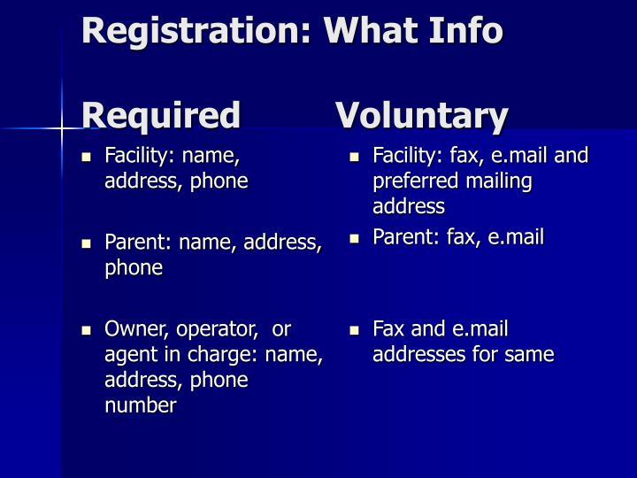 Facility: name, address, phone