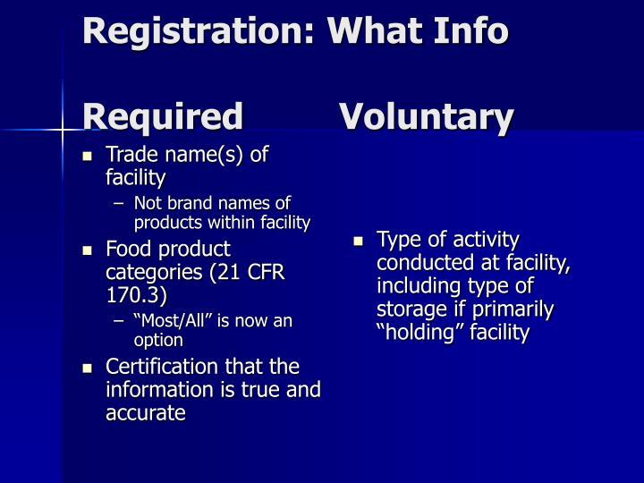 Trade name(s) of facility