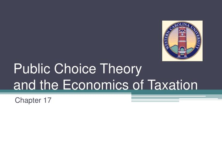public choice theory and the economics of taxation n.