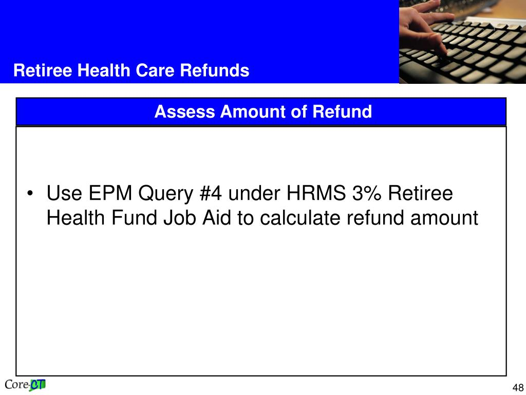 Use EPM Query #4 under HRMS 3% Retiree Health Fund Job Aid to calculate refund amount