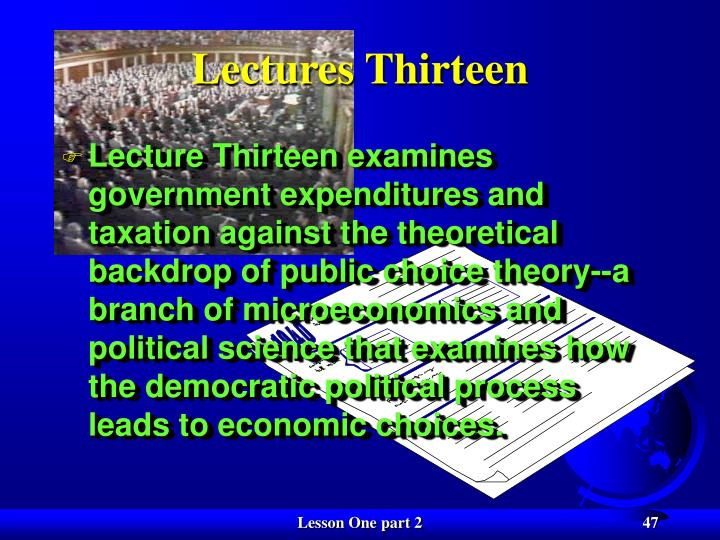 Lectures Thirteen