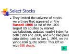select stocks