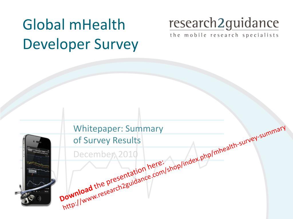 global mhealth developer survey l.