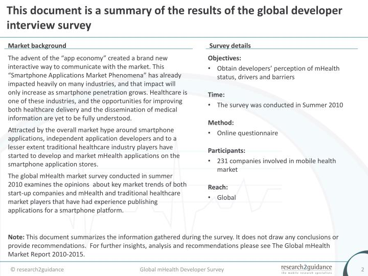 This document is a summary of the results of the global developer interview survey