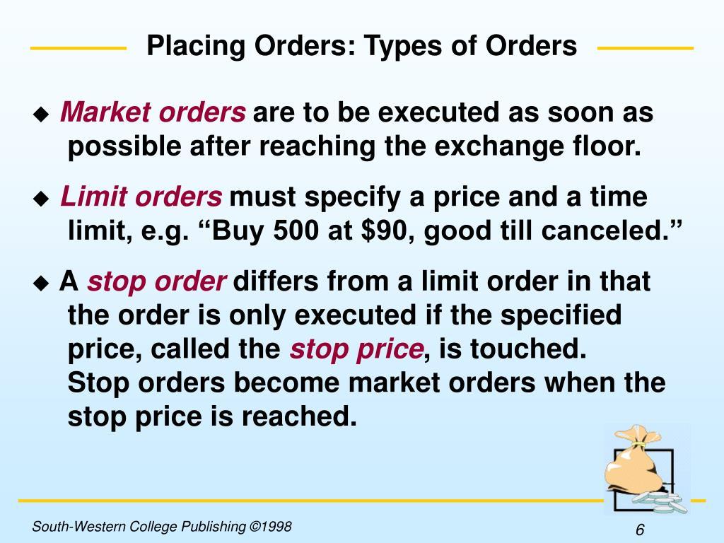 Placing Orders: Types of Orders