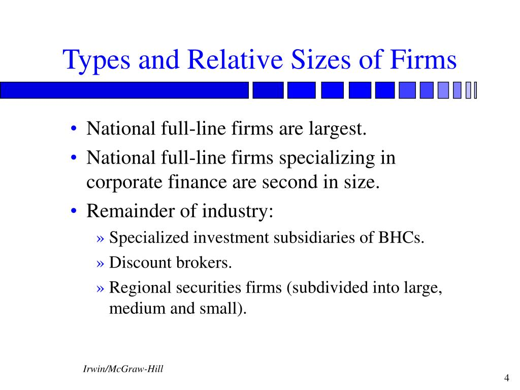Types and Relative Sizes of Firms