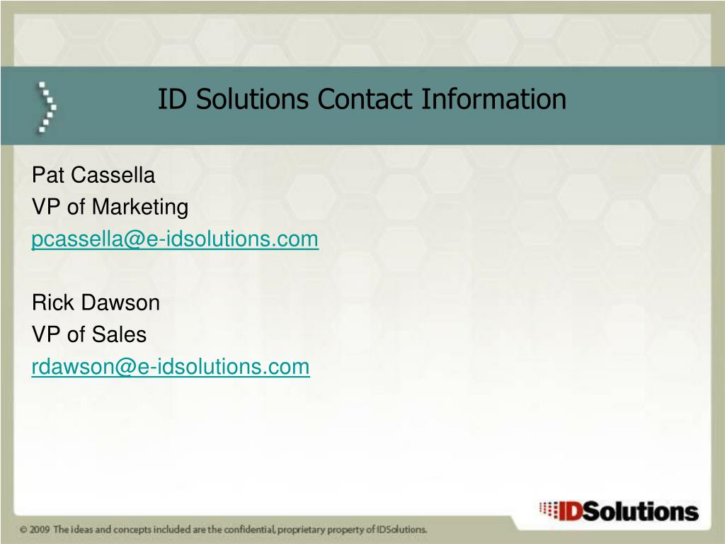 ID Solutions Contact Information