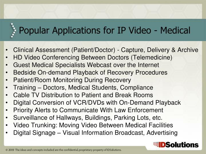 Popular applications for ip video medical