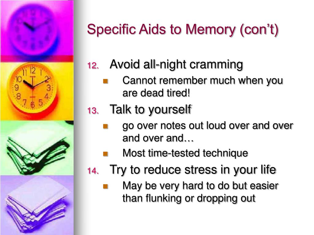 Specific Aids to Memory (con't)