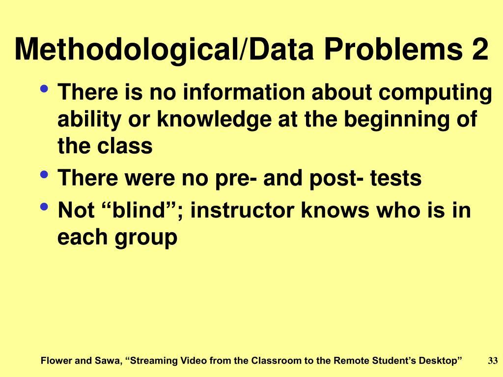 Methodological/Data Problems 2