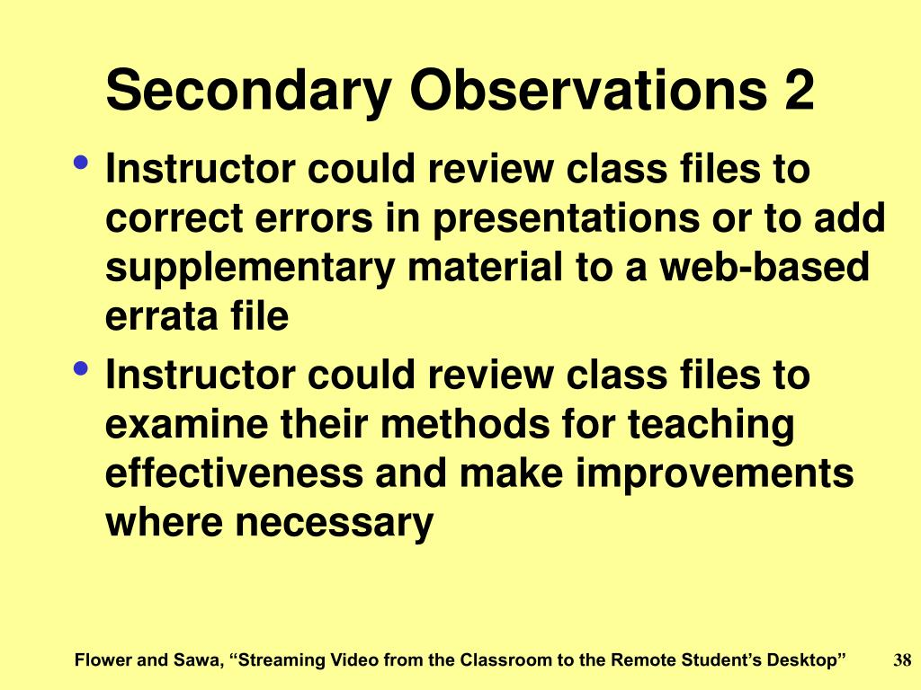 Secondary Observations 2