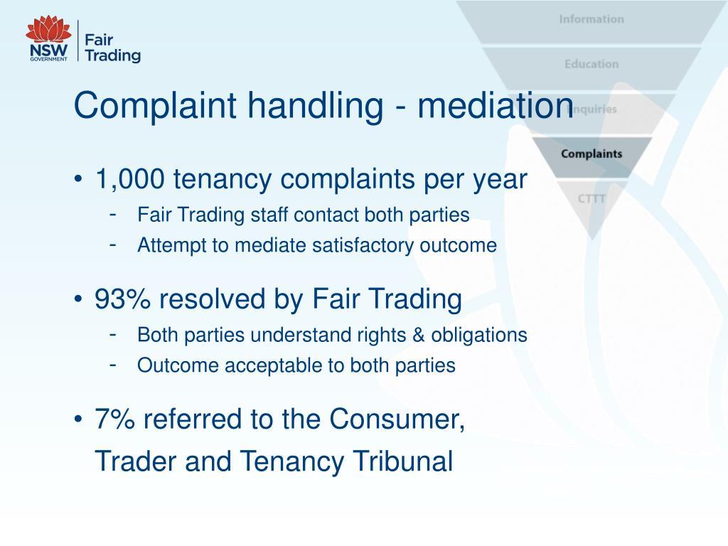 Complaint handling - mediation
