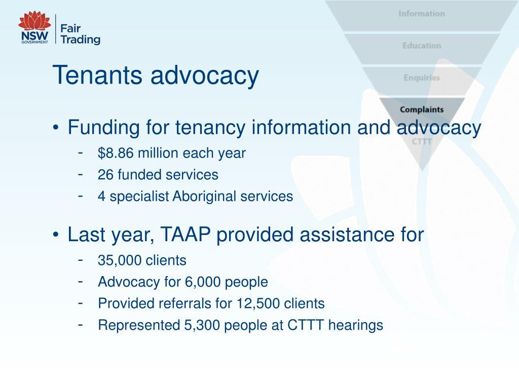 Tenants advocacy