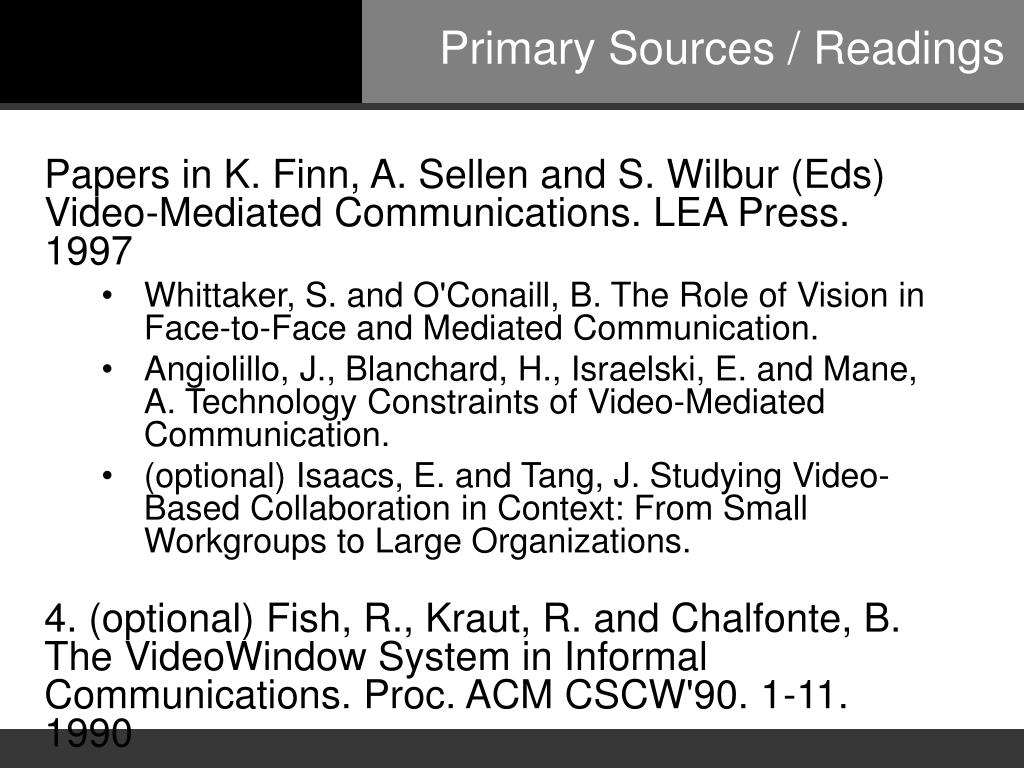 Primary Sources / Readings