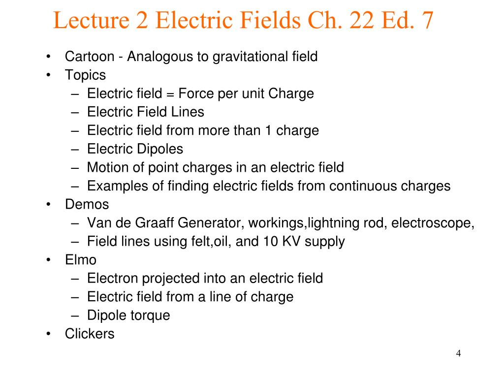 Lecture 2 Electric Fields Ch. 22 Ed. 7