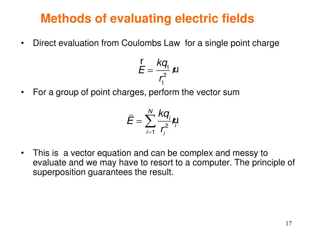 Methods of evaluating electric fields