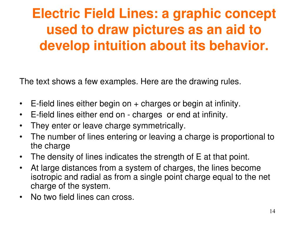 Electric Field Lines: a graphic concept used to draw pictures as an aid to develop intuition about its behavior.