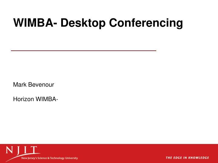 Wimba desktop conferencing