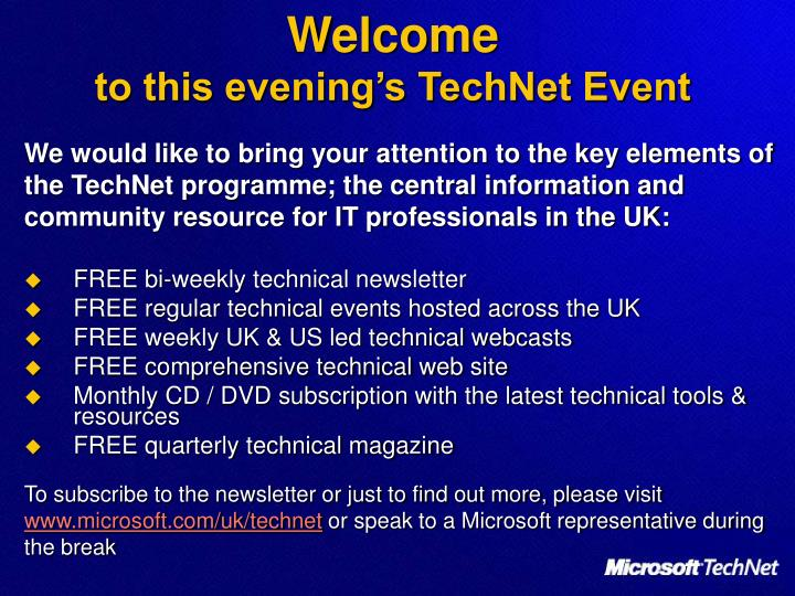 welcome to this evening s technet event n.