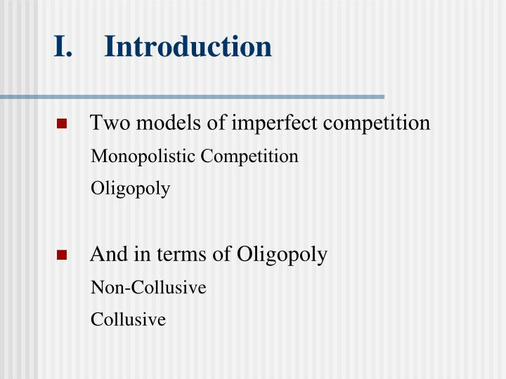 non collusive oligopoly Non collusive oligopoly is when oligopolists do not have any type of agreement between one another an oligopoly is a market where a small amount of producers compete against each other.