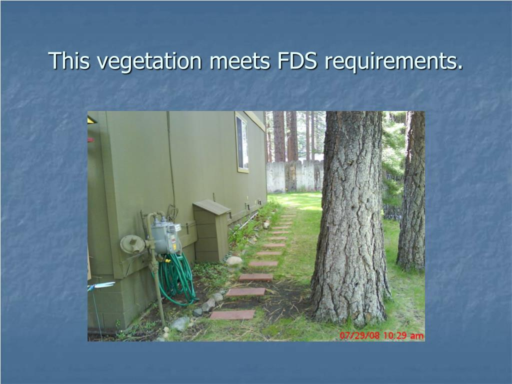 This vegetation meets FDS requirements.