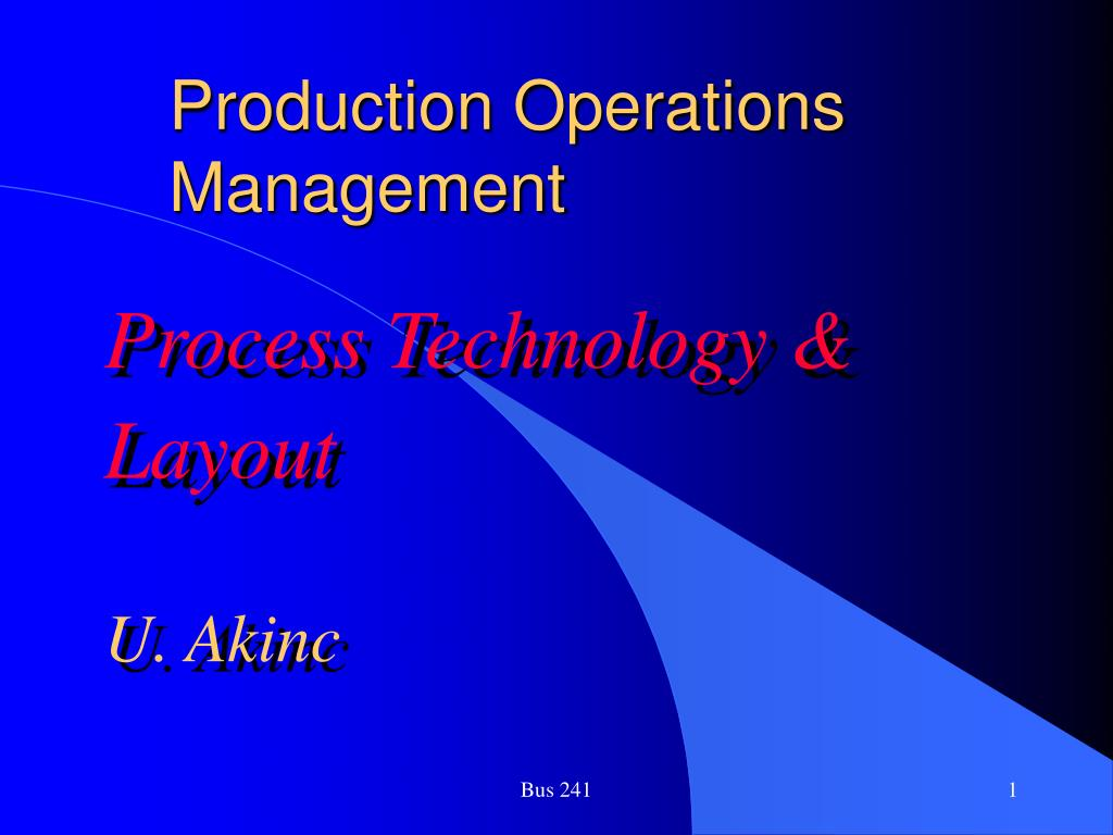 production operations management l.